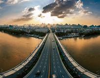 航拍桂林解放桥日落城市风景