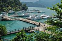 台湾日月潭水社码头俯拍