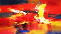 红红火火抽象艺术壁画