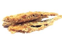 三只金黄色香脆可口的油炸鱼