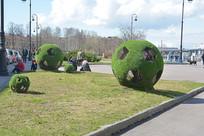俄罗斯世界杯足球绿化带