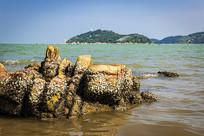 汕头妈屿岛天然海滨浴场的岩石