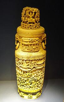 清代象牙镂雕人物纹大花瓶