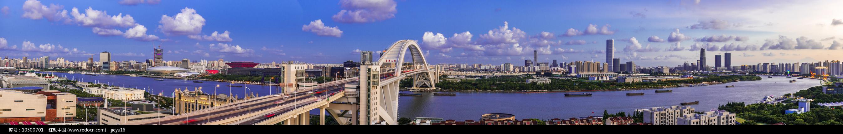 上海黄浦江两岸卢浦大桥段全景图片