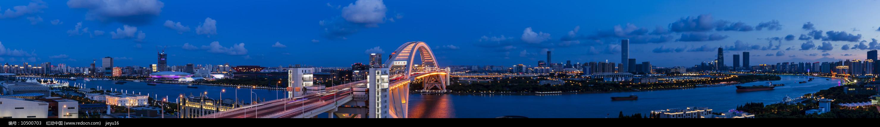 上海黄浦江两岸卢浦段夜景全景图片