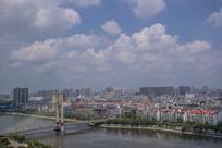 斜拉桥和城市建筑