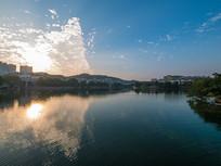 夕阳下的惠州西湖风景区风光