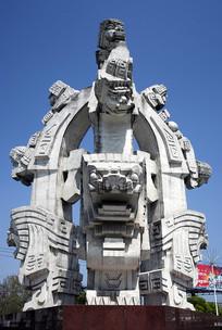 合肥九狮苑广场的九狮雕塑