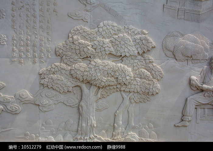 三棵枝叶茂盛的大树壁雕浮雕图片