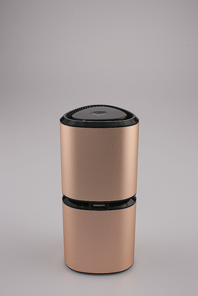 香槟金车载空气净化器USB面