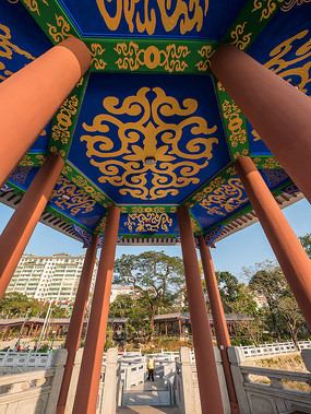 仰视惠州西湖仲元亭的天花板