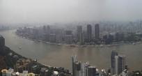 全景浦江两岸雾霾天