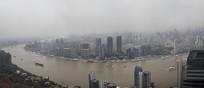 雾霾中浦江全景图