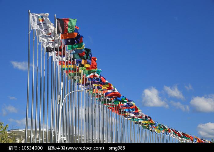 各国旗帜飘扬图片
