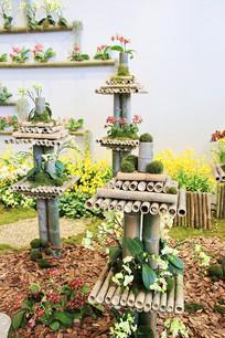 竹子艺术插花台