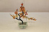 梅花树玉雕盆景
