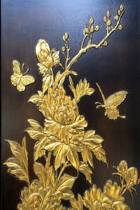 木板雕花蝴蝶牡丹