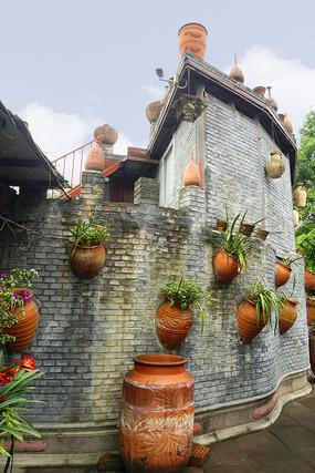 四川元通古镇黄家大院的围墙