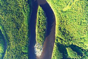 大兴安岭森林河岛屿风光
