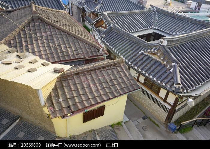 俯拍韩国首尔北村韩屋村图片