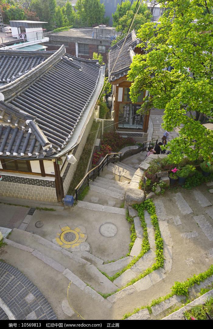 韩国首尔北村韩屋村俯拍图片