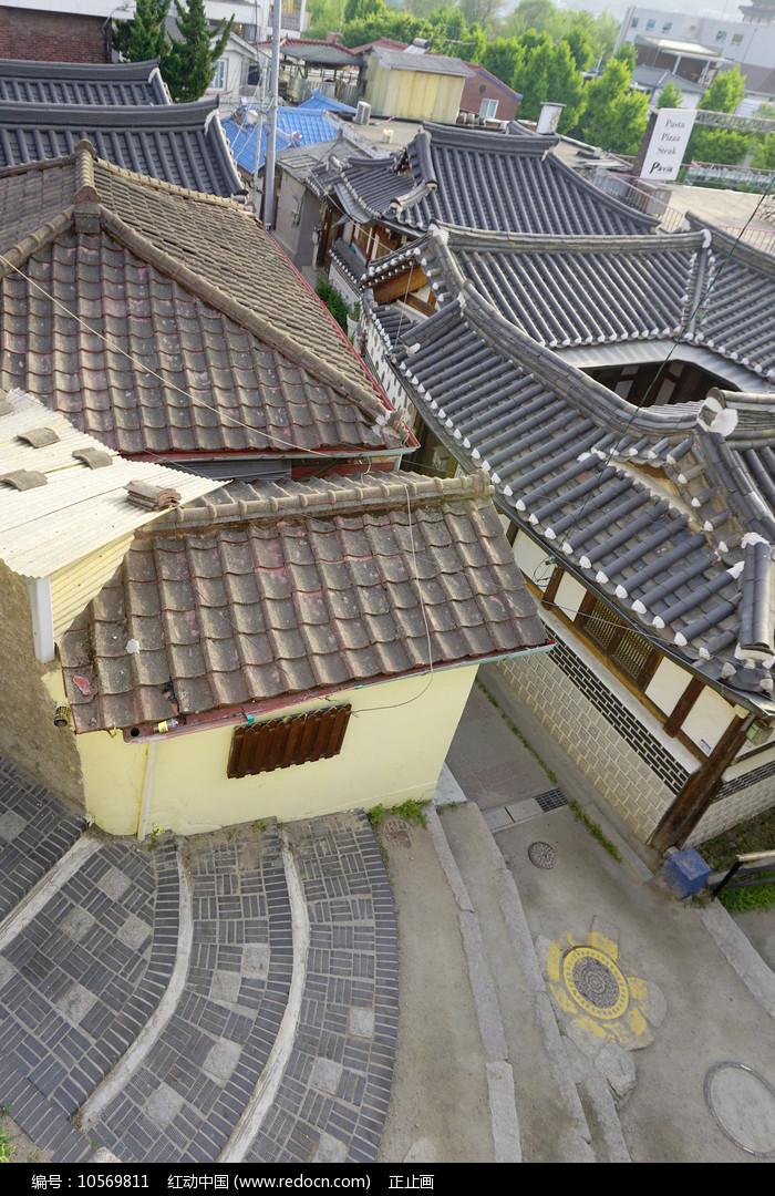 韩国首尔北村韩屋村民房俯拍图片