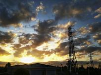清晨霞光天空