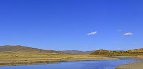 阿坝红原大草原白河及草原秋景