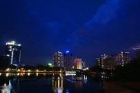 越南河内城市及湖泊夜景