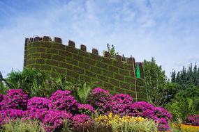 国庆节北京天安门广场植物造景长城