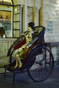 老上海的黄包车与上海女人蜡像
