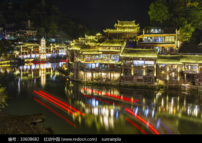 凤凰古城万名塔夜景图片