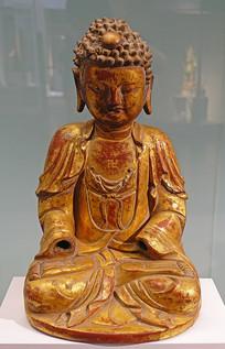 明代夹纻贴金释迦佛坐像