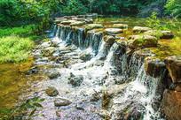 千山龙潭堤坝流水瀑布