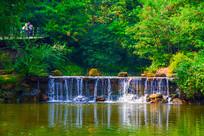 千山明潭流水瀑布与树林