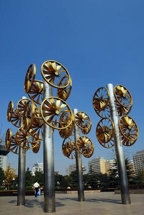 北京东城区建国门的风车景观