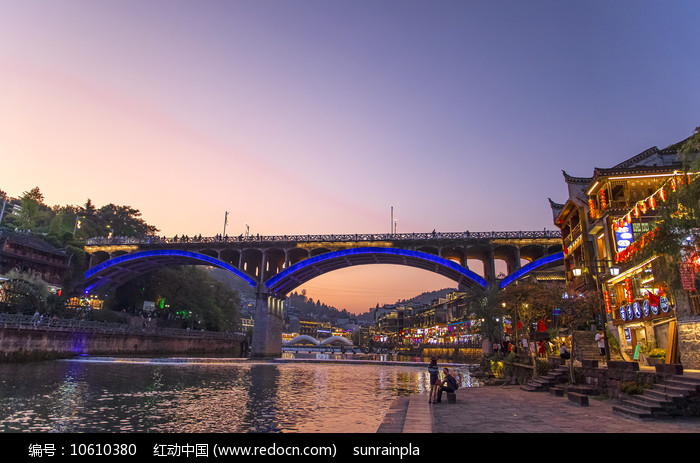 凤凰古城晚霞图片