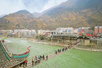 俯拍甘孜红色旅游景区泸定桥