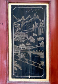 木板黑底金漆彩绘山水