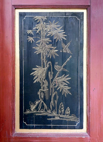 木板黑底金漆彩绘竹子