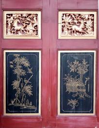 中式风格描金彩绘窗板