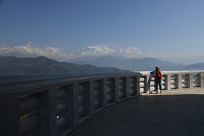 尼泊尔白塔景观