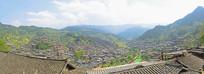 黔东南州西江千户苗寨俯拍全景