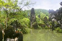 贵州天星桥天星盆景区的石笋