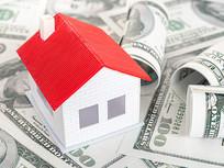 美元上的红房子特写图