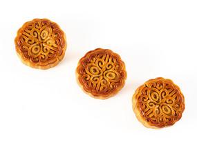 三个依次排列的中秋月饼白底图