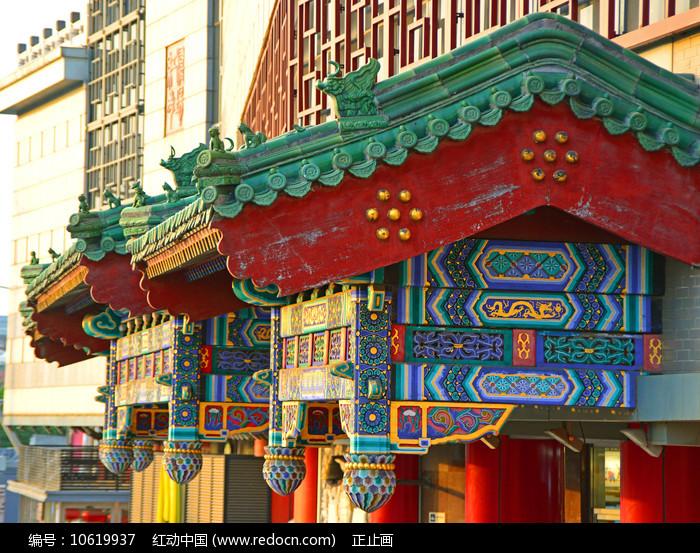 北京红桥市场的仿古建筑中式垂花门图片