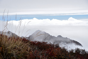 彭州三口锅山顶一侧风光