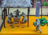 猴子吃西瓜场景蜡像