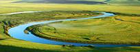 草原弯曲的河流(全景高清)